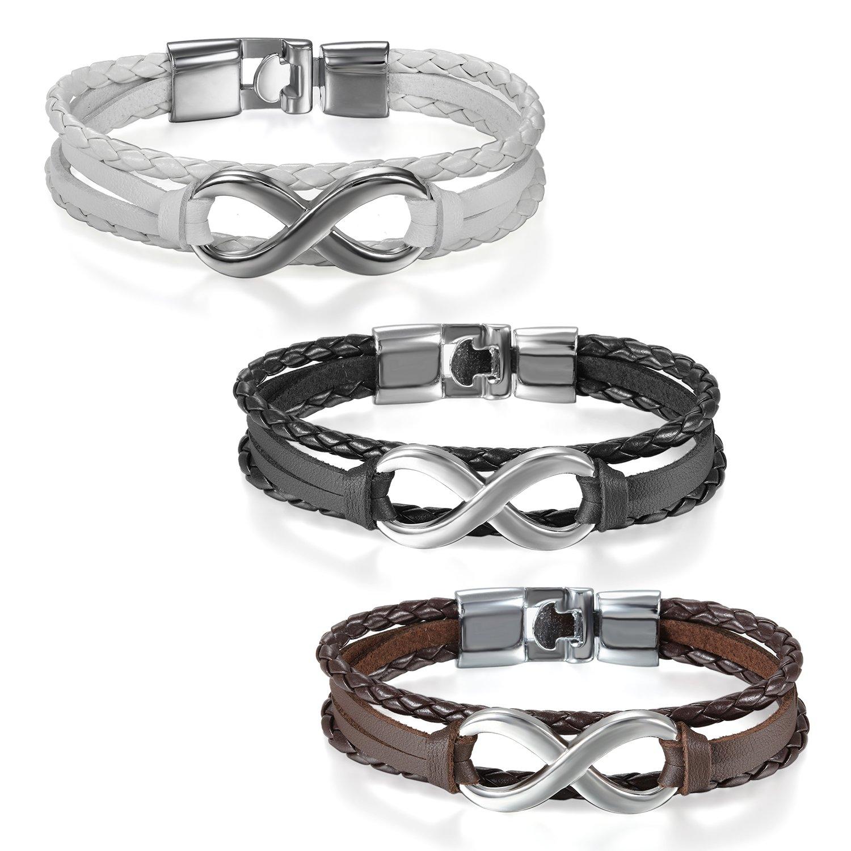 c62ba3f9da71 JewelryWe Joyería Pulsera Infinito Infinity Pulseras Para Parejas  Enamorados Hombre Mujer