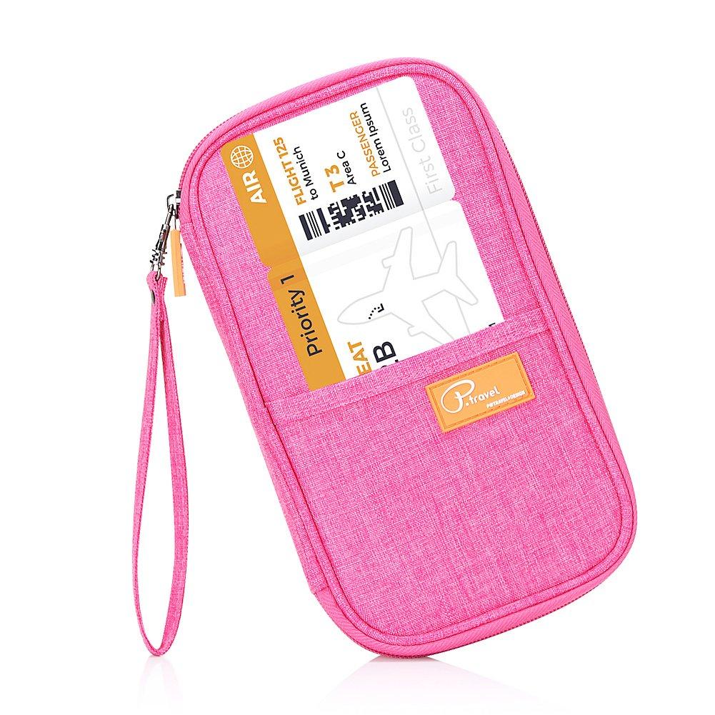 Travel Passport Wallet, Waterproof Family Passport Holder RFID Blocking Document Organizer Case with Hand Strap (Pink)
