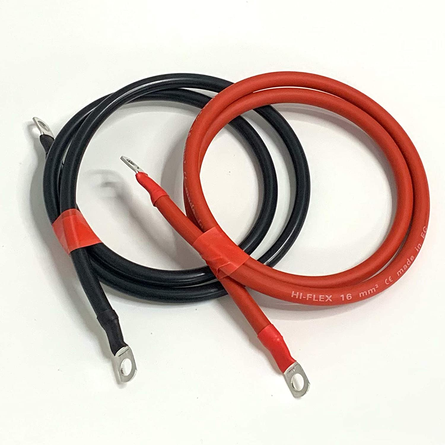 Red Lead Set 110A Amp 16mm2 Cable Wire with M10 Ring Terminals 1ft Set, 10mm Ring Terminals 30cm Battery Lead//Black