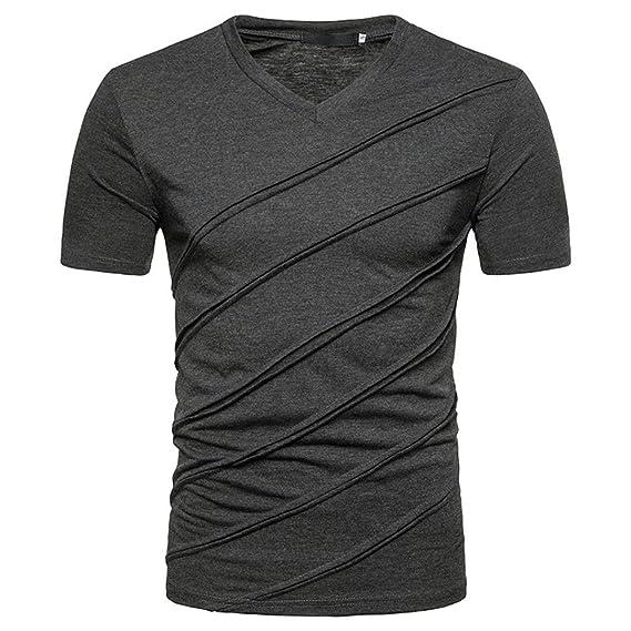 URSING Herren T Shirt Kurzarm Shirt mit V Ausschnitt Männer