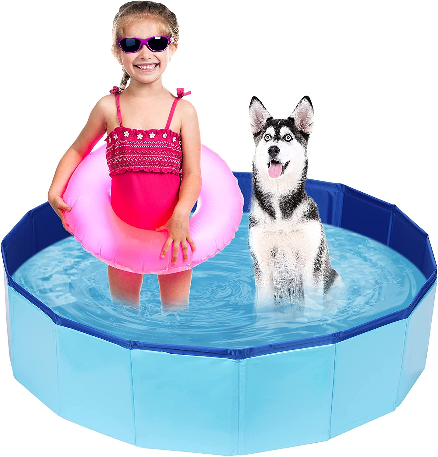 PVC Pet Swimming Pool Portable Bathtub Collapsible Water Pond Pool Foldable Dogs Bathing Tub Garden Pool Cat Puppy Shower Spa Kiddie Pool for Kiddies Pets to Swim and Bath (39.3