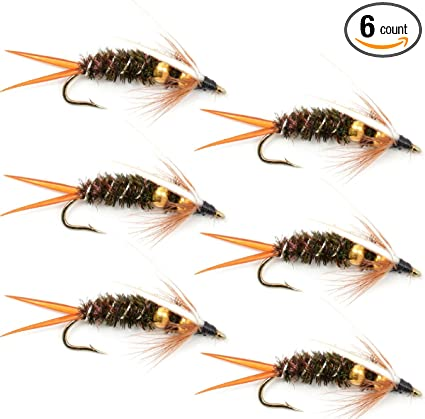 Fly Fishing Flies Pheasant Tail Bead Head Nymph Fly 6 Flies Hook Size 12
