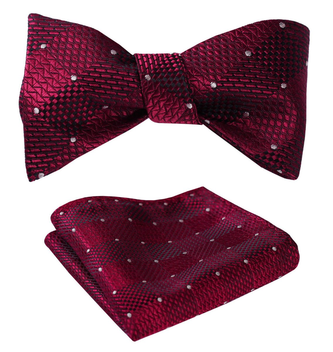 HISDERN Men's Paisley Floral Jacquard Woven Party Self Bow Tie Set BF115RS-2