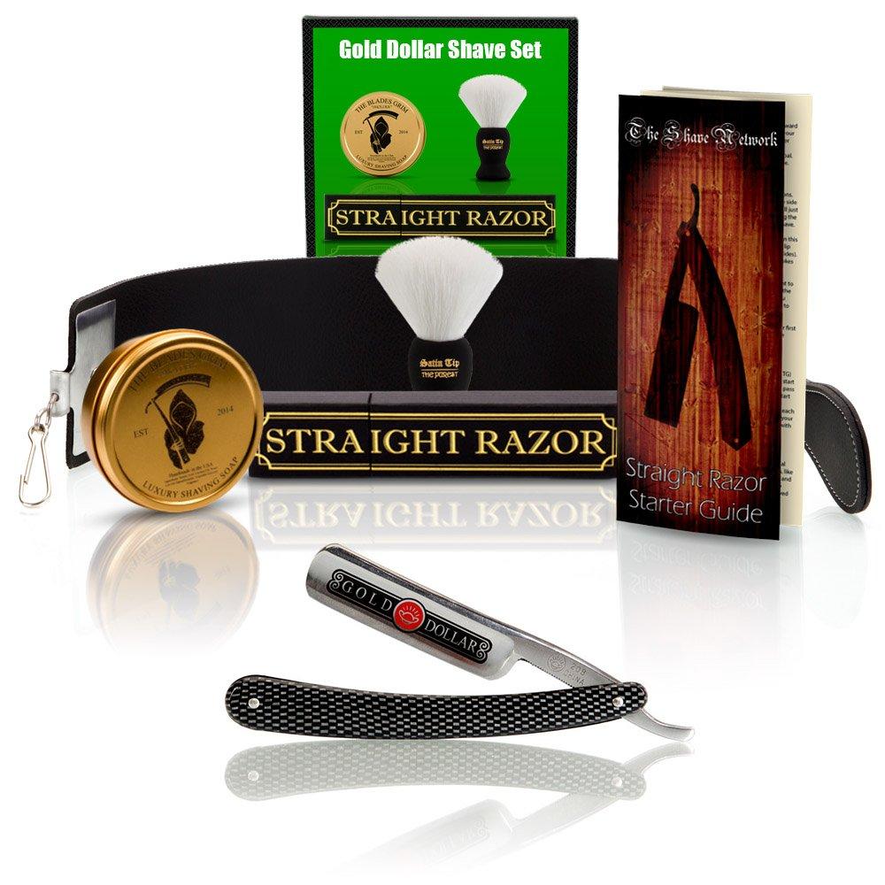 ~Shave Ready~ Shaving Straight Razor 6/8'' GD w/Box 208 Gold Dollar Straight Razor, The Blades Grim Soap, Synthetic Shaving Brush, GB Buckingham Strop - Complete Straight Razor Set by The Shave Network