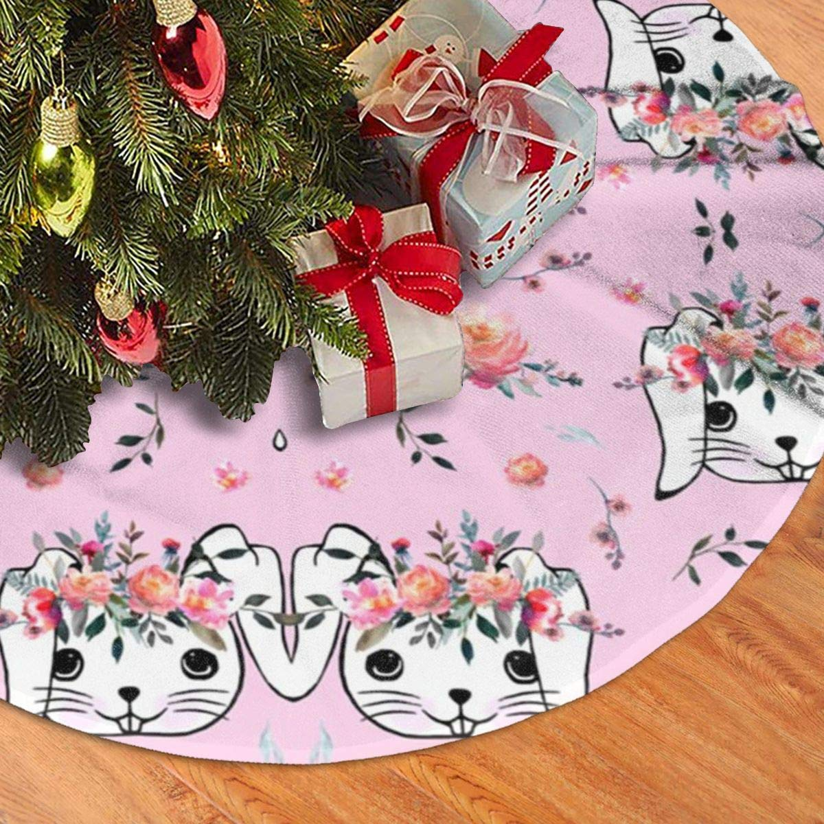 New Year Festive Party Decoration YUERF Easter Bunny 30 Christmas Tree Skirt