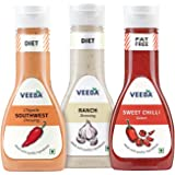 Veeba Chipotle Southwest Dressing, 300g with Ranch Dressing, 300g and Sweet Onion Sauce, 350g