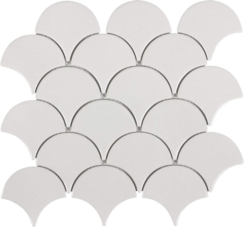 MTO0242 Modern Fan Fish Scale Gray White Glazed Natural Ceramic Mosaic Tile