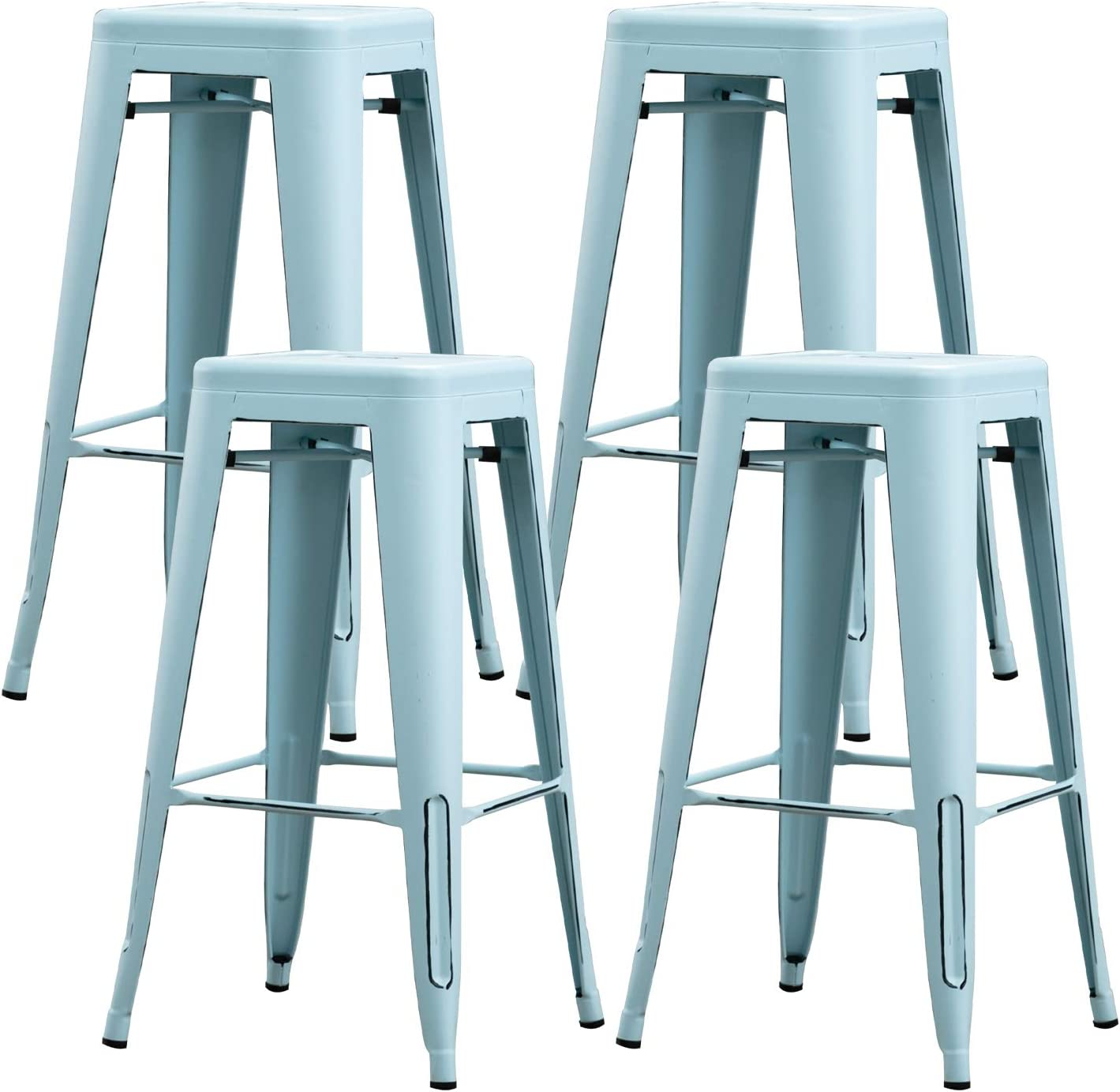 Bonzy Home Bar Stools Set of 4, 30 inch Distressed Designed Metal Barstools, Stackable Home Kitchen Backless Dining Stool, Indoor Outdoor Patio Bar Chair - Distressed Light Blue …