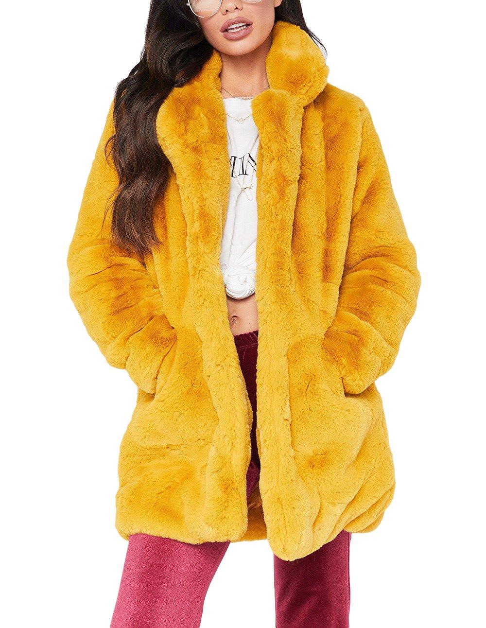 Remelon Womens Long Sleeve Winter Warm Lapel Fox Faux Fur Coat Jacket Overcoat Outwear With Pockets Yellow XL