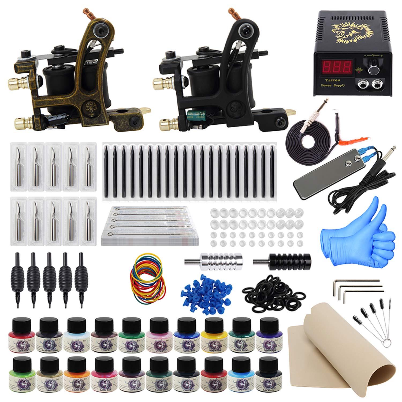 ITATOO Complete Tattoo Kit for Beginners Tattoo Power Supply Kit 20 Tattoo Inks 50 Tattoo Needles 2 Pro Tattoo Machine Kit Tattoo Gun Kit TK1000013 by ITATOO
