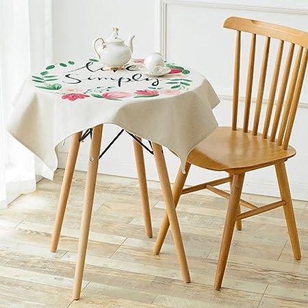 Pintado a mano arte plantas mesas redondas manteles de lino ...