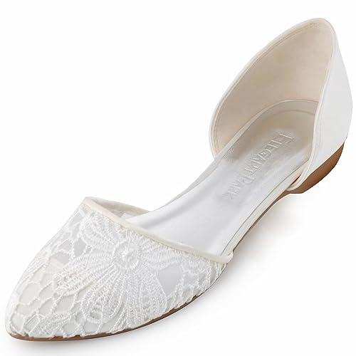 buy online 31a3e 3de92 ElegantPark FC1527 Damen Lace Ballerinas Brautschuhe