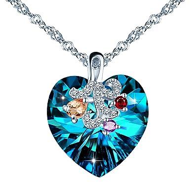 f148d5a5594c3 SIXLUO Collier Swarovski Coeur de l océan Pendentif saphir en argent 925 et  cristal pour