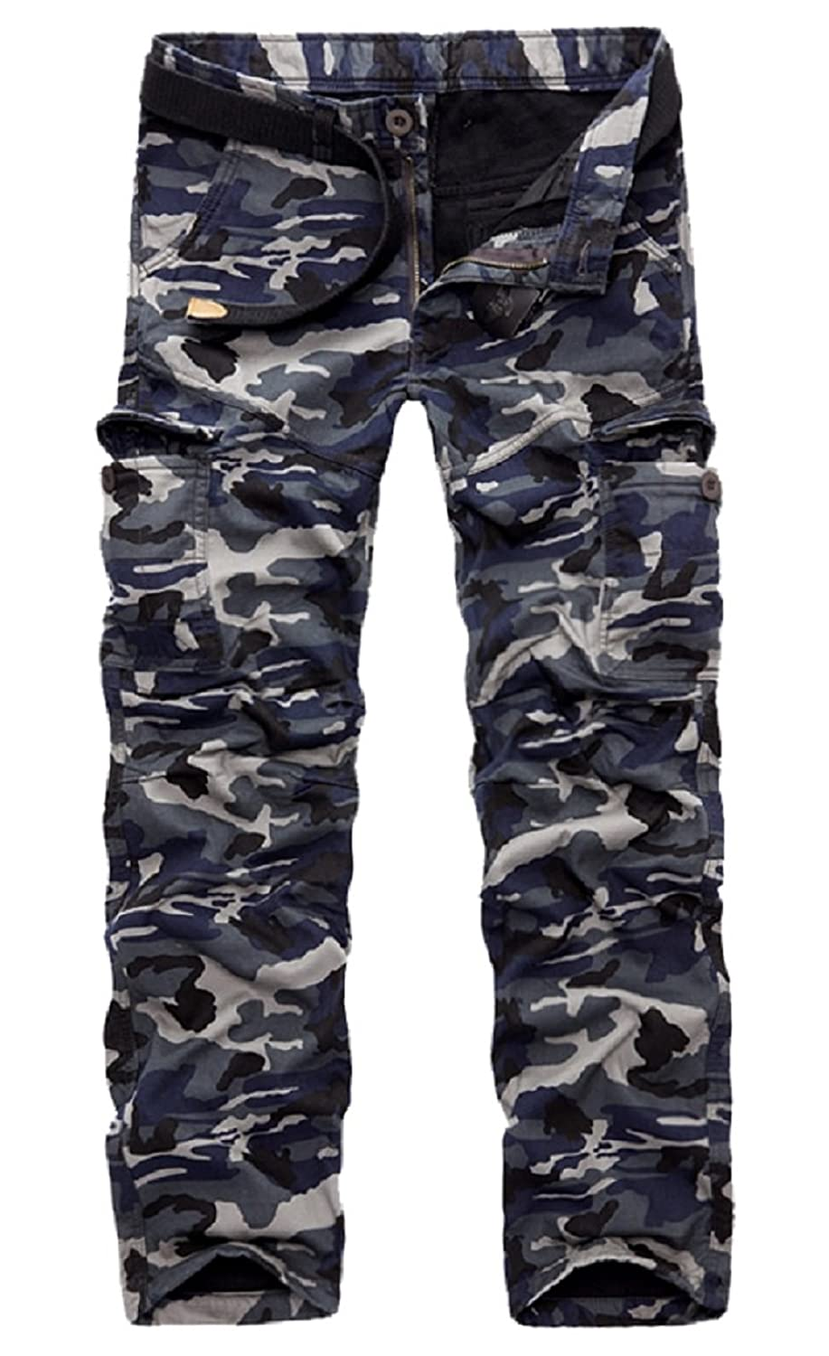 AYG Mens Warm Cargo Trousers Polar Fleece Thickened Cargo Camo Pants Combat Wiast 29-40