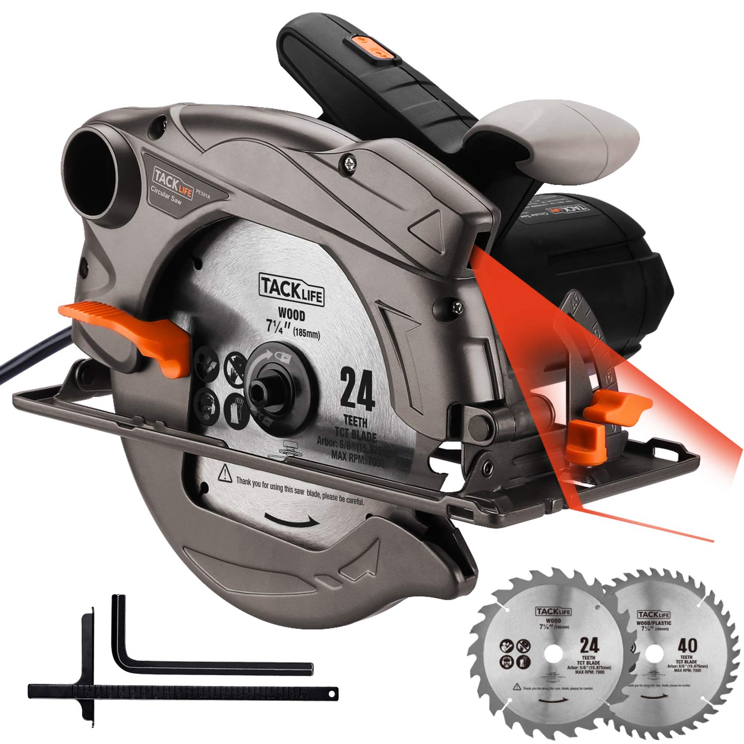 Circular Saw, 7-1/4''(7-1/2'') Saw with Lightweight Aluminum Guard, 10feet Cord Length, Laser Guide, Max Cutting Depth 2-1/2''(90°), 1-4/5''(45°), 2 Blades -Tacklife PES01A