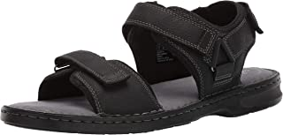 Clarks Men's Malone Shore Sandal, Black Tumbled Leather, 8.5 M US