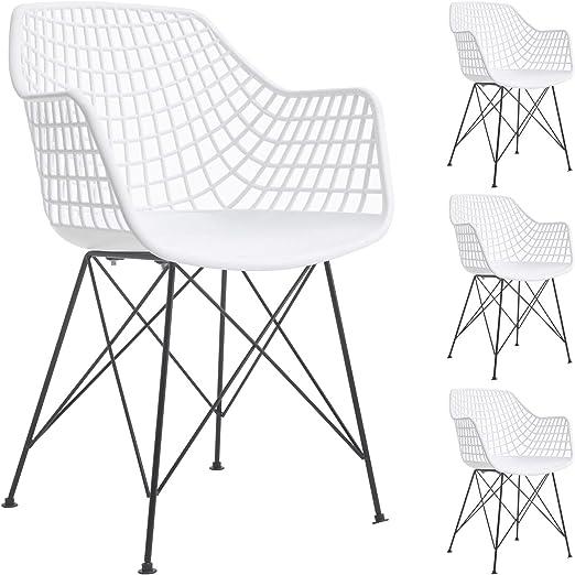 IDIMEX Esszimmerstuhl Alicante im Retro Design, Stühle Küchenstuhl Essstühle Armlehnstuhl, im 4er Set, Kunststoff in weiß