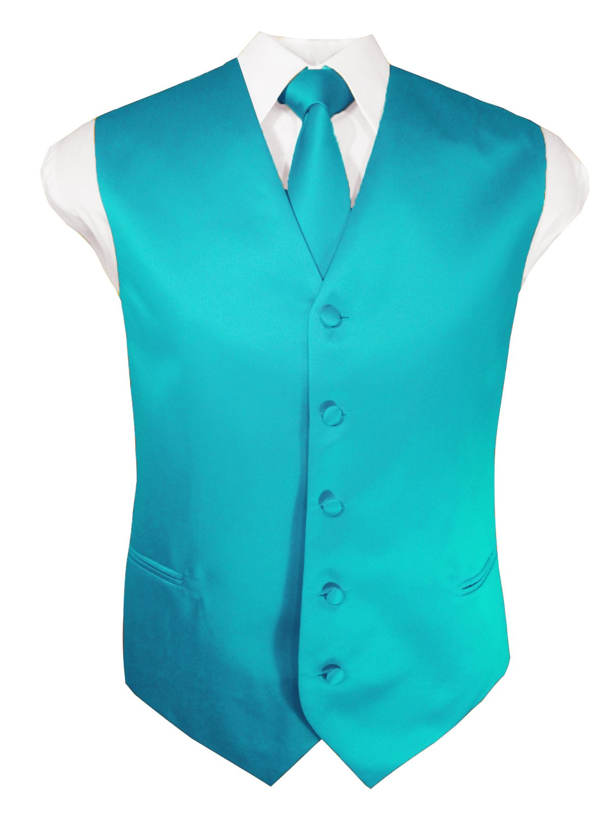 Guytalk Mens 3 Piece Tuxedo Vest for Formal Party, Wedding, Prom, Bartender XXXL Teal