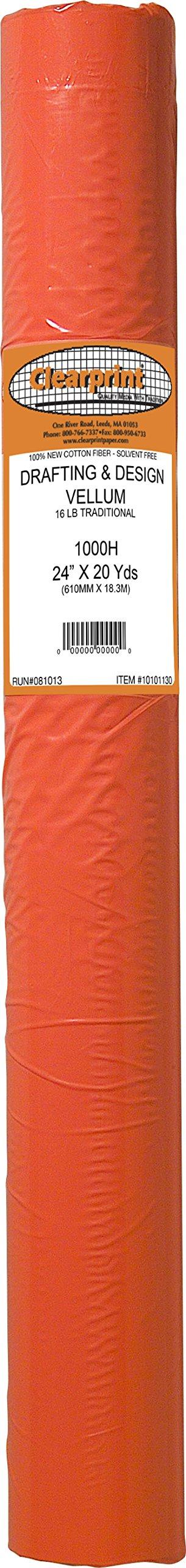 Clearprint 1000H Design Vellum Roll, 16 lb, 100% Cotton, 24 Inches W x 20 Yards Long, Translucent White, 1 Each (10101130)