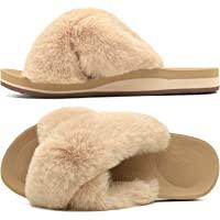 COFACE Zapatillas de Casa para Mujer Zapatillas de Felpa Pantuflas Cruzadas peludas Suave Cómoda Sandalia Plana Punta…