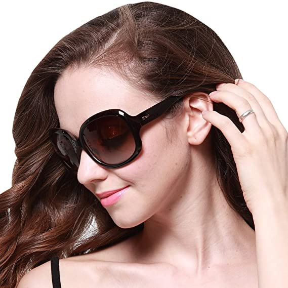 84c32f79bd4 Duco Women s Oversized Polarized Sunglasses Vintage Classic Fashion Sunglasses  3113 (Brown)