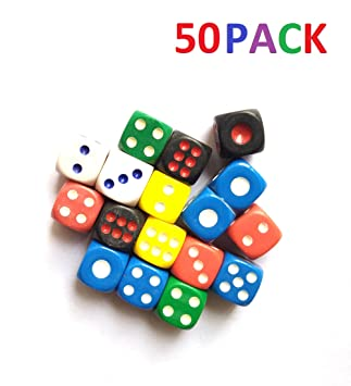 ISHARAA 50PCS Game Dice Creative Acrylic Dice 6-Sided Dice for Party Game