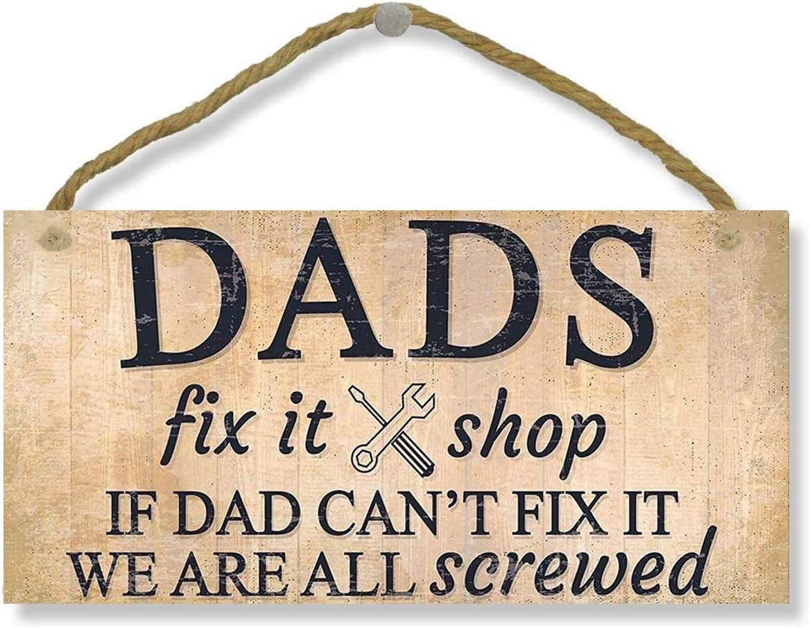"SAMJOSY 5"" X 10"" Dad's Fix It Shop Man Cave Signs Garage Home Door Wall Decor Wood Sign"