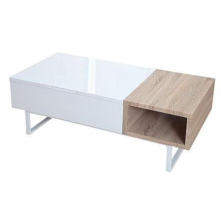 Design Couchtisch Fabric Ii Hochglanz Sonoma Eiche Aufklappbar