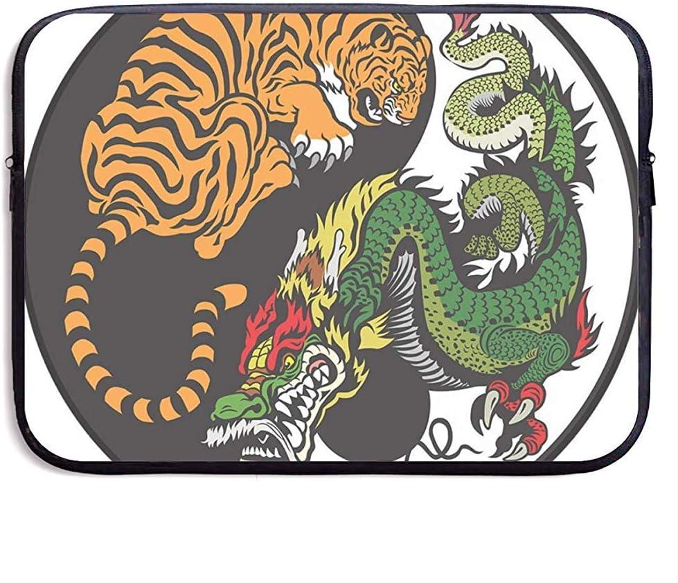 Funda para portátil Tiger and Dragon - Funda para maletín con Funda para MacBook Pro/Notebook, Resistente al Agua