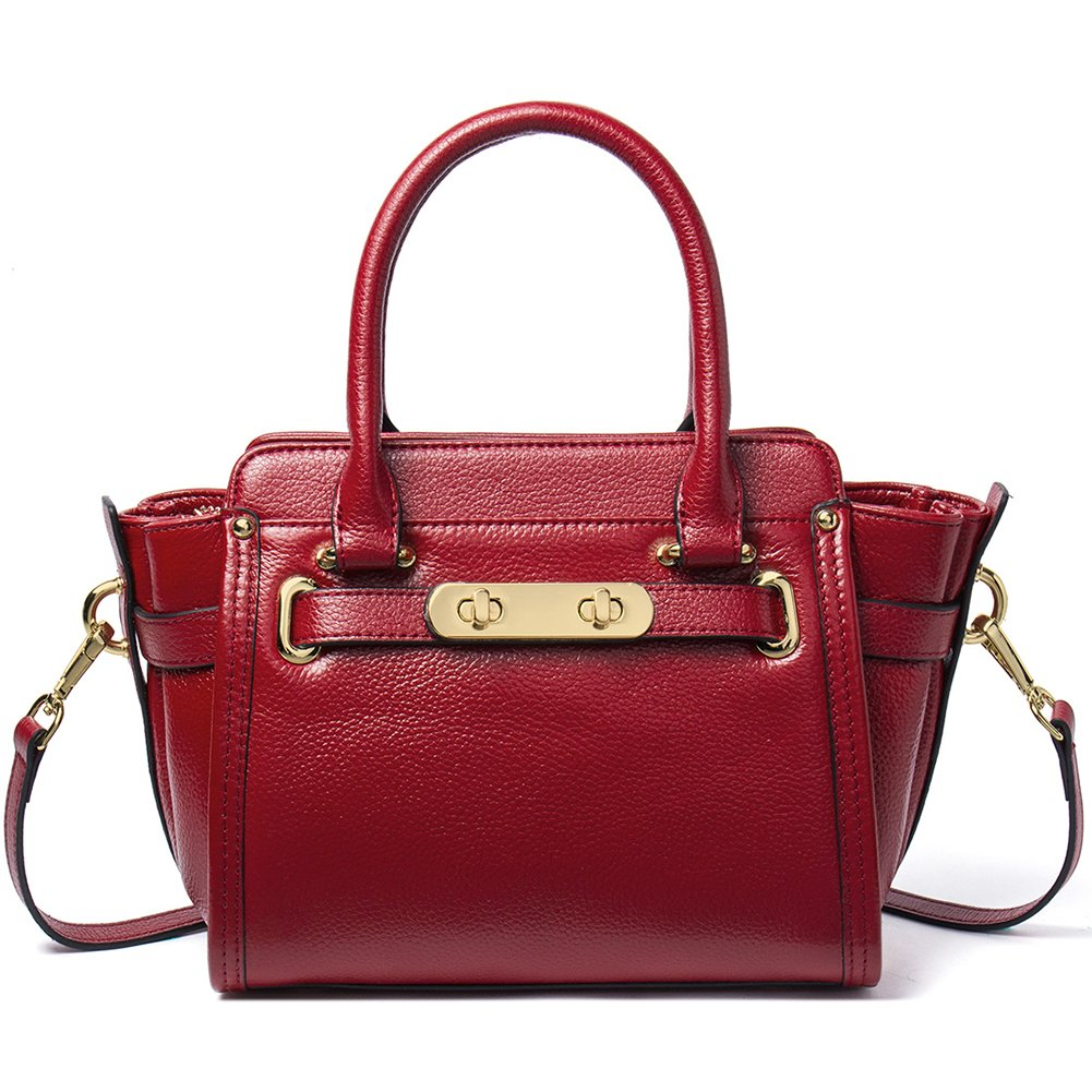 NAWO Leather Designer Handbags Shoulder Tote Top-handle Cross Body Bags  Clutch Purse for Women Wine Red 5a44fc8e305b3