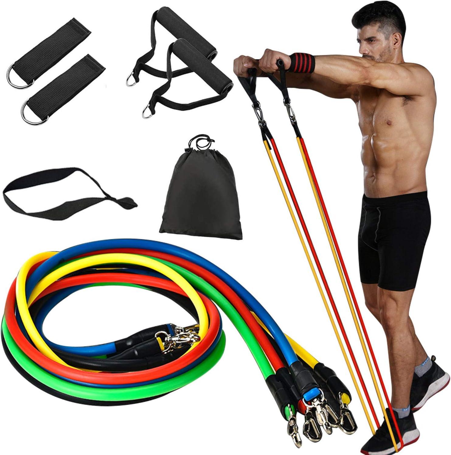 Handles Waterproof bag 11 PCs Resistance Exercise  Bands Set with Door Anchor