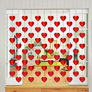 12PCS Valentine's Day Decorations Heart Garland - Mather's Day Party Hanging String Decor Supplies