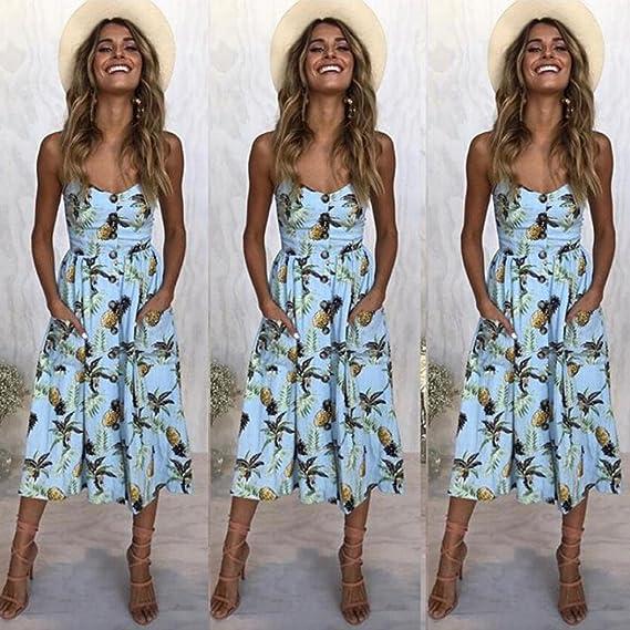 SANFASHION Bekleidung - Vestido - para Mujer Azul Claro Large: Amazon.es: Ropa y accesorios