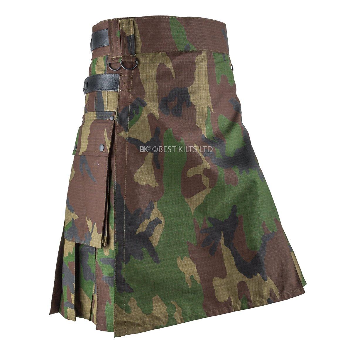 Best Kilts Men Woodland Camouflage Tactical Army Utility Kilt (38''-40'')