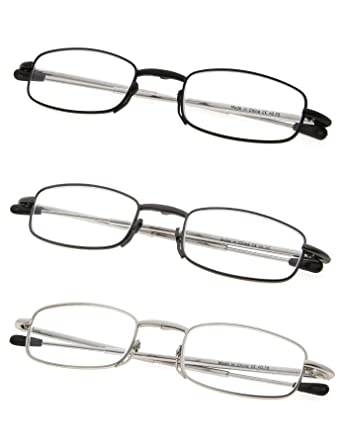 82a3dff4aa2 Amazon.com  3-Pack Telescopic Arms Folding Reading Glasses With Flip ...