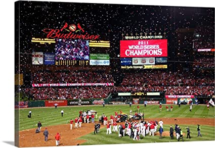 amazon com the st louis cardinals celebrate after defeating the