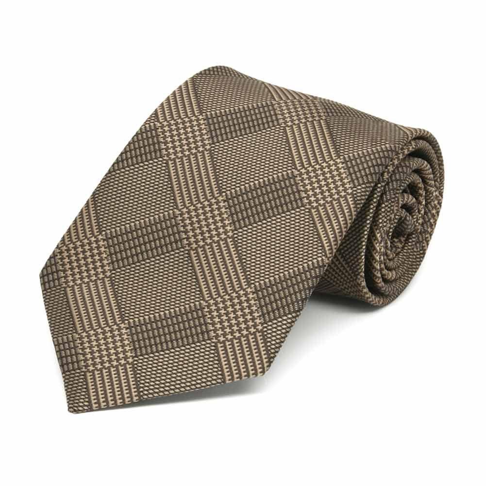 TieMart Boys Toffee Brown Michael Glen Plaid Necktie