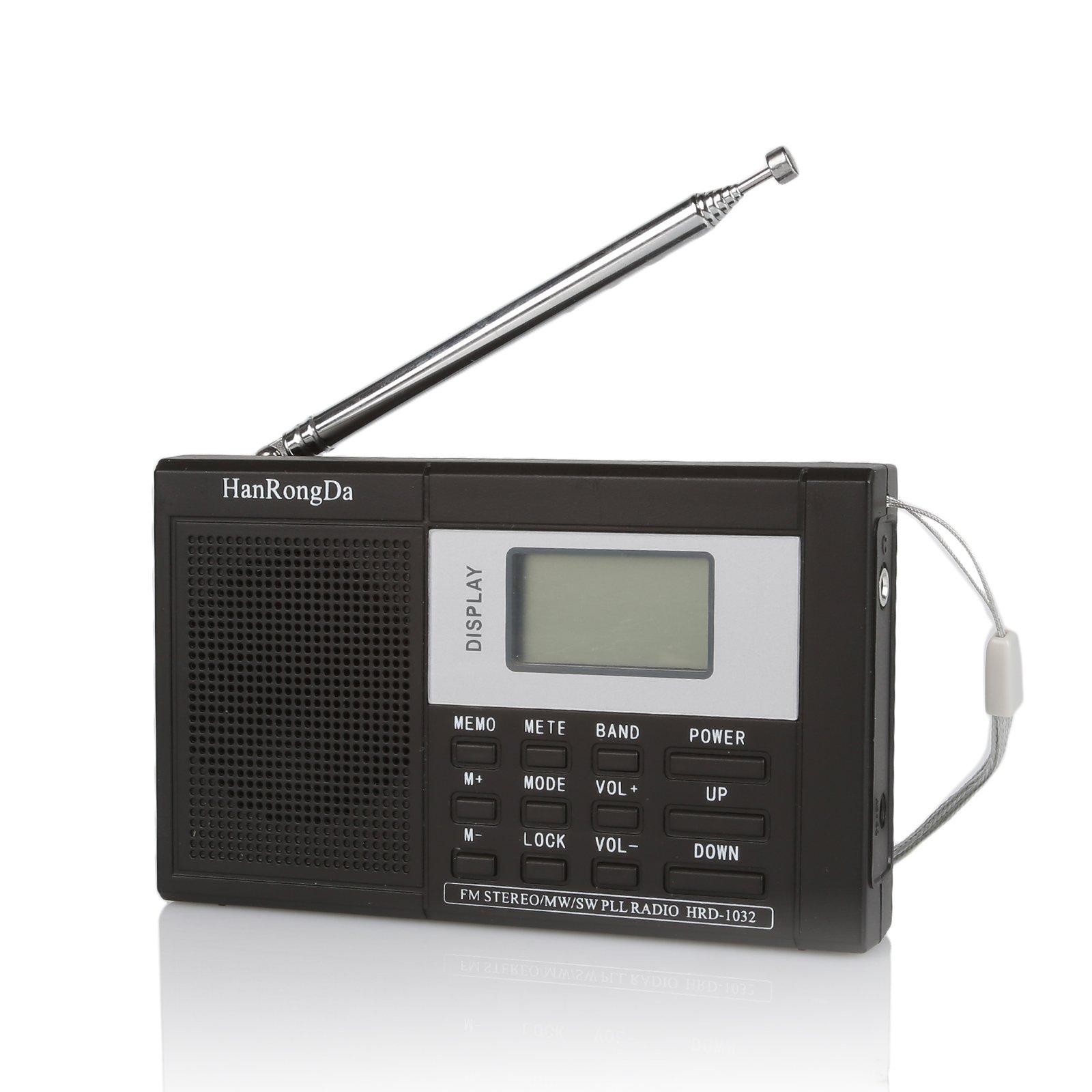 Radioddity RF22 FM AM SW World Band Portable Digital Radio Shortwave Multiband Receiver, with Clock Alarm Time Display Function, Support 3.5 mm Audio Jack