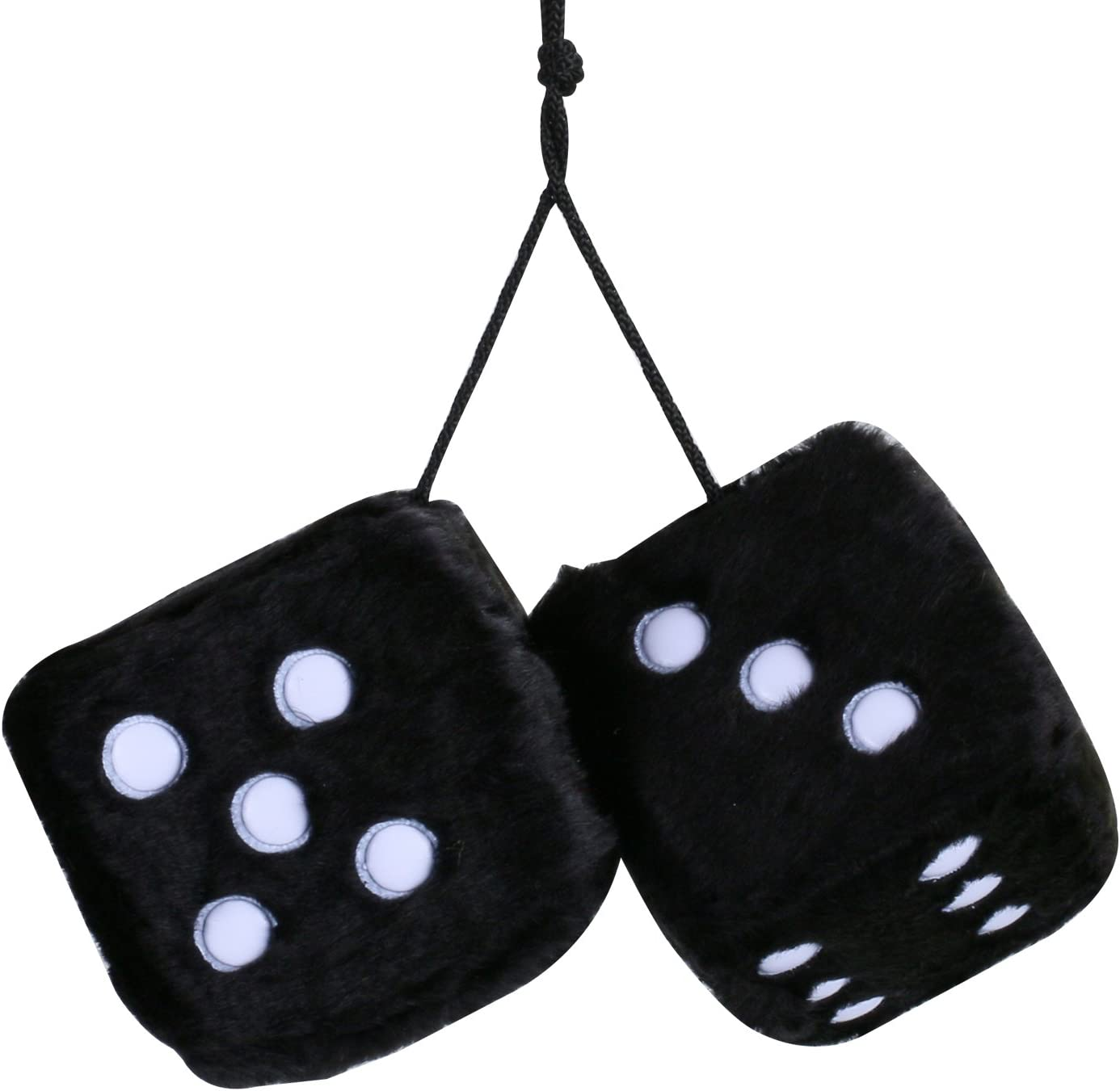 Car Soft Spotty Furry Fluffy Hanging Mirror Dice Set Novetly Accessory CH