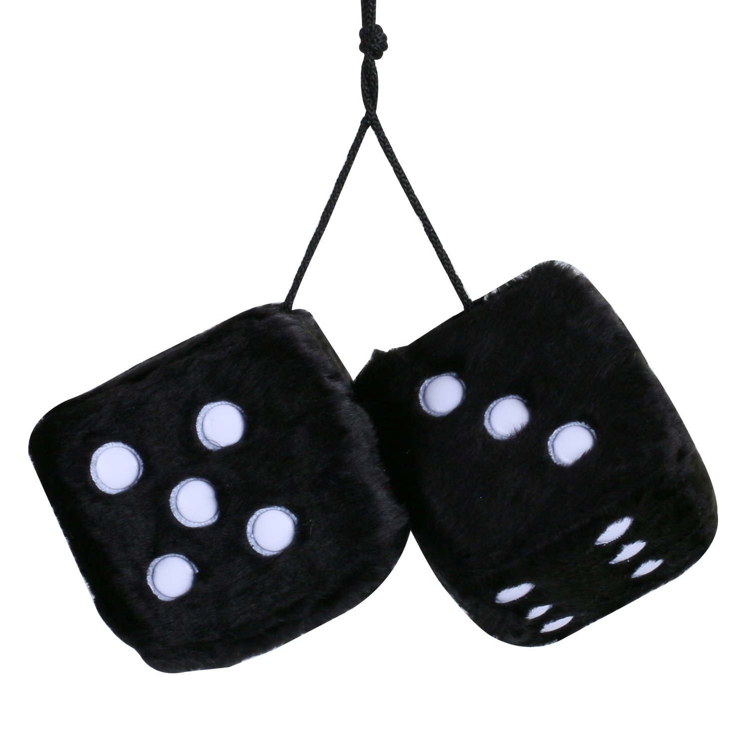 MRCARTOOL 3 inch Pair of Retro Square Mirror Hanging Dice Couple Fuzzy Plush Dice with Dots for Car Interior Ornament Decoration Black