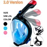 Ninja Shark Full Face Snorkel Mask 2.0, 2018 New Foldable Snorkeling Mask Full Face with Detachable GoPro Mount and Earplug, 180° Large View Easy Breath Dry Top Set for Adults and Kids
