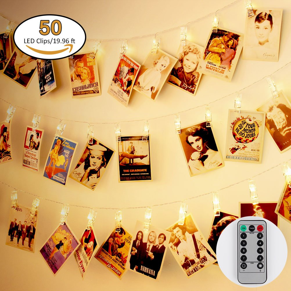 Jamal 50 LED Photo Clips Light USB Powered with Remote 8 Modes Timer Christmas Indoor Twinkle Lights for Hanging Picture for Garden Home Festival Decoration Flexible(Warm White)