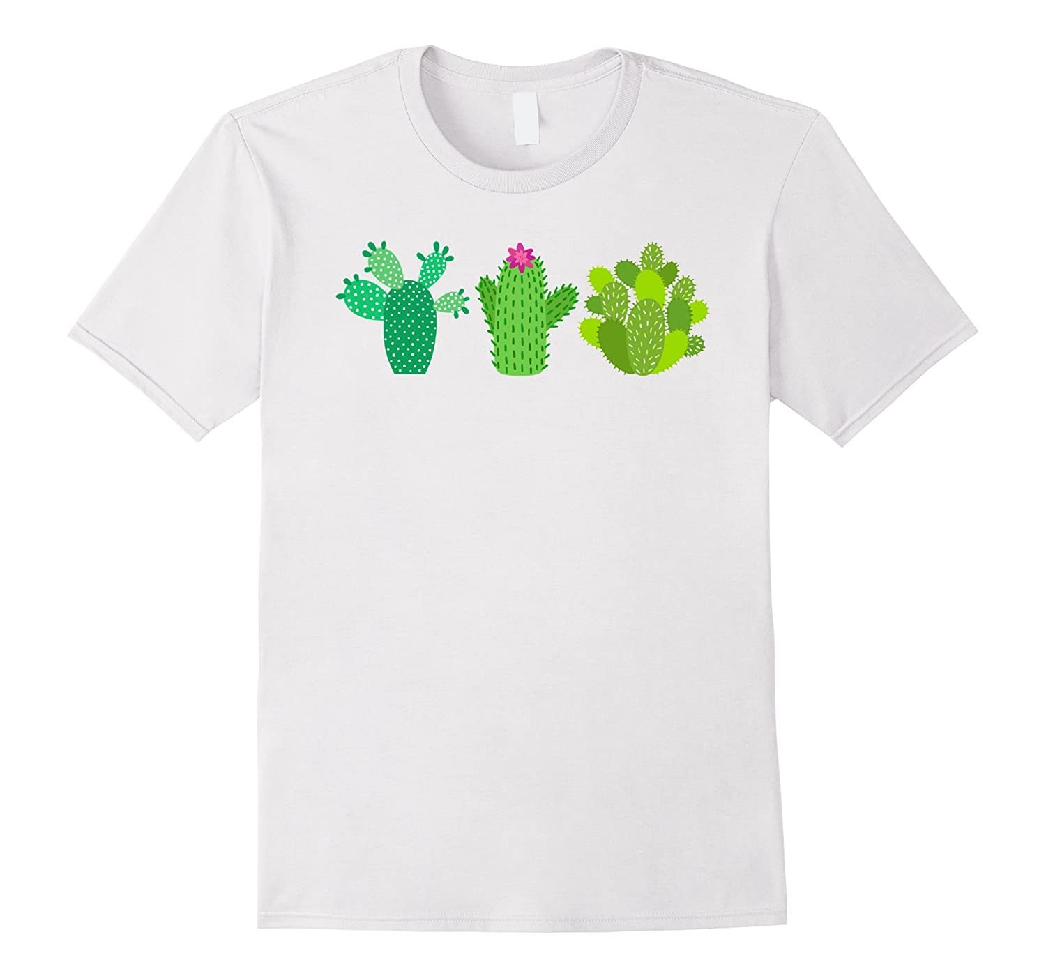 3 Cactus Plants with Flower Graphic T-Shirt-Rose