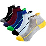 Mens Low Cut Ankle Non-skid Socks Cotton Mesh Top Fresh Ventilation Socks with Tab(5 pack)