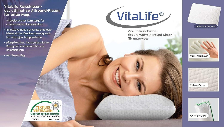 Vitalife 37106/Coussin de Voyage Polyester Blanc 42/x 24/x 12/cm