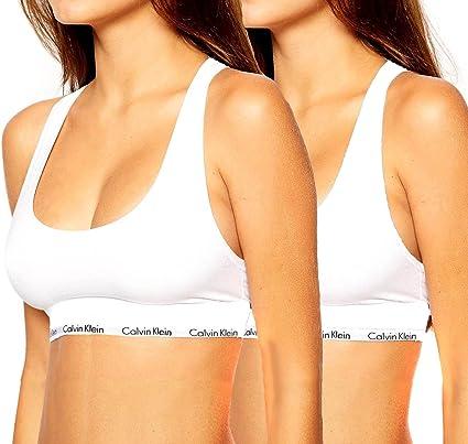 Nuevo original de CALVIN KLEIN Womens sujetador deportivo cosecha Bralette superior (2 pack - Blanco y negro), mujer, blanco: Amazon.es: Ropa y accesorios