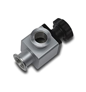 Goldleaf Scientific VAC025VV KF-25 Hand Operated High Vacuum Valve - 90° Angled Vacuum Adapter