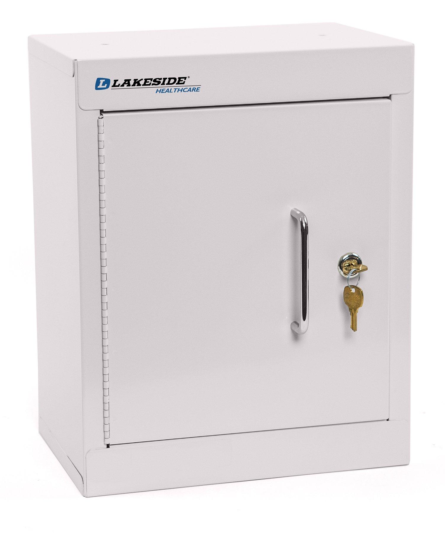 LAKESIDE MANUFACTURING LNC-11D Lakeside Narcotics Cabinet-Double Door-Double Lock, Handle-1 Adjustable Shelf, Beige , 15'' Height, 12'' width