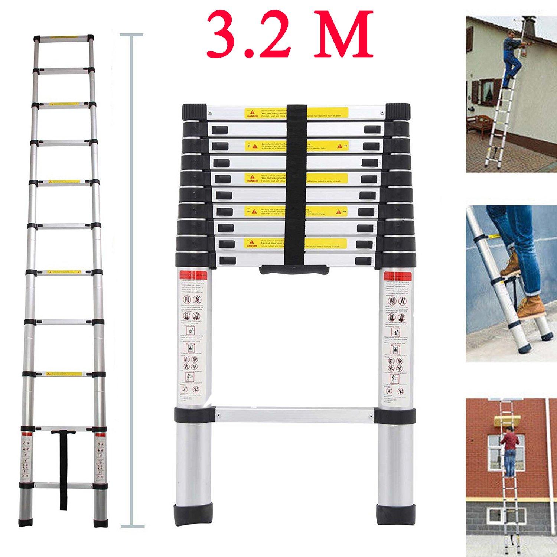 Teleskopleiter YUMUN 3.2M Alu Leiter Ausziehbar Haushaltsleiter Teleskopleiter Aluminium Klappleiter Ausziehleiter Mehrzweckleiter -Maximale Belastbarkeit 150 kg ogeled