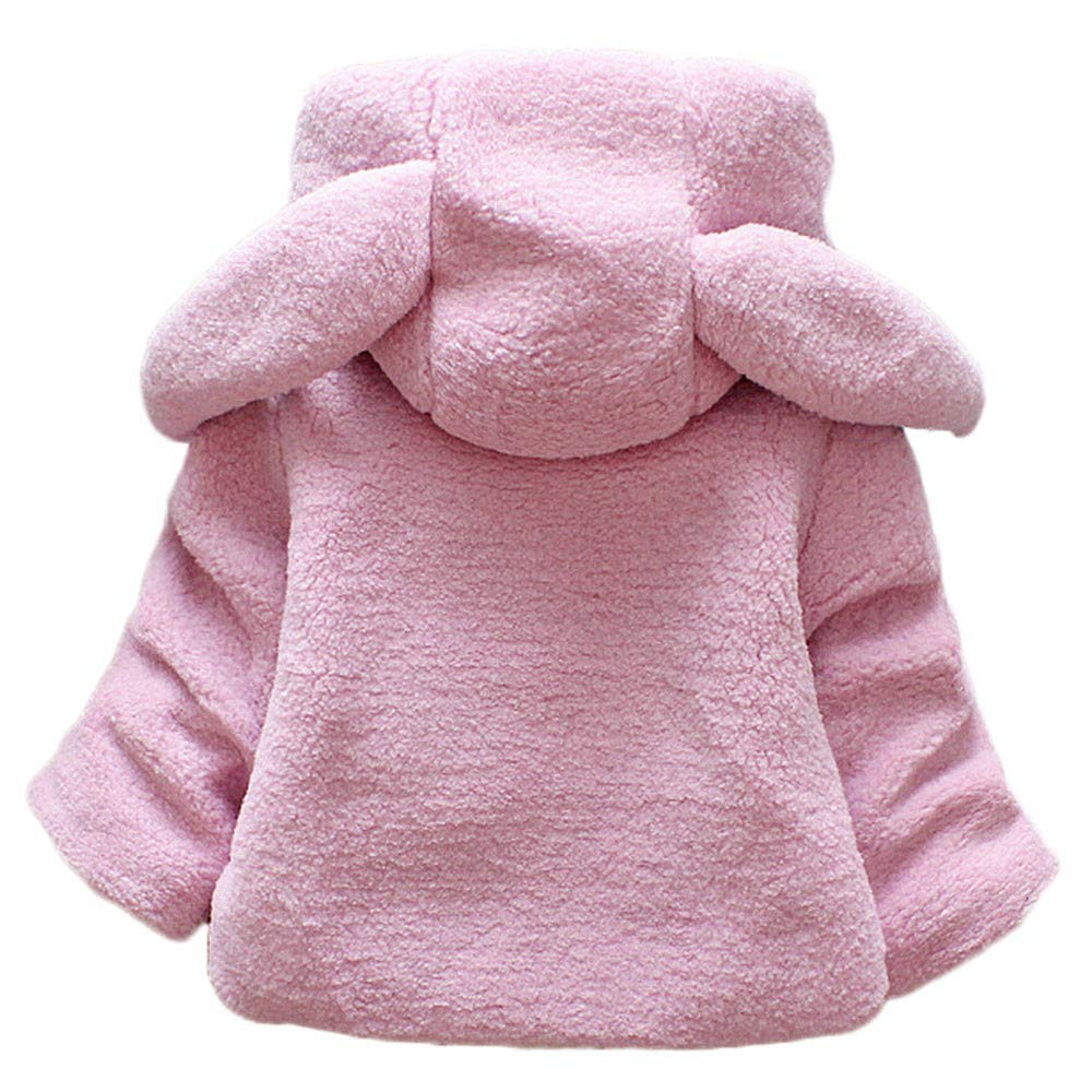 kaiCran Kids Baby Girls Coat Thick Winter Hoodie Rabbit Bunny Coat Toddler Outerwear with Ears Carrot Pocket